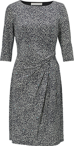 Etienne Dress, Navy/Chalk - style: shift; neckline: round neck; waist detail: twist front waist detail/nipped in at waist on one side/soft pleats/draping/ruching/gathering waist detail; predominant colour: mid grey; occasions: evening, work; length: on the knee; fit: body skimming; fibres: polyester/polyamide - stretch; hip detail: soft pleats at hip/draping at hip/flared at hip; sleeve length: 3/4 length; sleeve style: standard; pattern type: fabric; pattern size: small & busy; pattern: patterned/print; texture group: jersey - stretchy/drapey