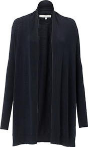Ava Cardigan, Navy - length: below the bottom; neckline: collarless open; style: open front; predominant colour: navy; occasions: casual, work; fibres: wool - mix; fit: loose; sleeve length: long sleeve; sleeve style: standard; texture group: knits/crochet; pattern type: knitted - fine stitch