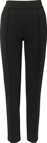 Fliss Trousers, Black - length: standard; pattern: plain; waist: high rise; predominant colour: black; occasions: evening, work; fibres: viscose/rayon - stretch; texture group: crepes; fit: slim leg; pattern type: fabric; style: standard