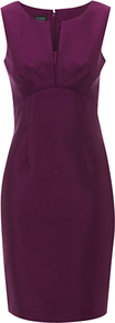Vienna Dress - style: shift; neckline: v-neck; fit: tailored/fitted; pattern: plain; sleeve style: sleeveless; waist detail: fitted waist; bust detail: ruching/gathering/draping/layers/pintuck pleats at bust; predominant colour: purple; occasions: evening, work, occasion; length: just above the knee; fibres: wool - mix; sleeve length: sleeveless; texture group: structured shiny - satin/tafetta/silk etc.; trends: glamorous day shifts; pattern type: fabric; pattern size: standard
