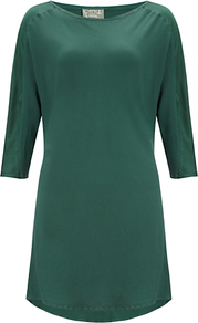 Katy Long Sleeved T Shirt - neckline: slash/boat neckline; pattern: plain; length: below the bottom; style: tunic; predominant colour: dark green; occasions: evening, work; fibres: polyester/polyamide - 100%; fit: body skimming; sleeve length: 3/4 length; sleeve style: standard; texture group: silky - light; pattern type: fabric; pattern size: standard