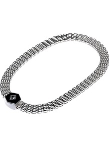Silver Plated Enamel Necklace, Silver / Black - predominant colour: silver; occasions: evening, work, occasion; style: standard; length: mid; size: standard; material: chain/metal; trends: metallics; finish: plain; embellishment: chain/metal