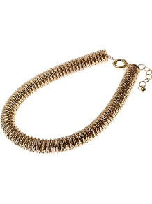 Coil Necklace - predominant colour: gold; occasions: evening, work, occasion; style: standard; length: mid; size: standard; material: chain/metal; finish: plain; embellishment: chain/metal