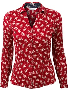 Sophie Floral Shirt, Scarlet - neckline: shirt collar/peter pan/zip with opening; style: shirt; predominant colour: true red; occasions: casual; length: standard; fibres: viscose/rayon - 100%; fit: body skimming; sleeve length: short sleeve; sleeve style: standard; texture group: cotton feel fabrics; pattern type: fabric; pattern size: small &amp; busy; pattern: patterned/print