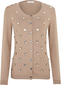 Flower Sequin Cardigan, Light Brown - neckline: round neck; pattern: plain; shoulder detail: contrast pattern/fabric at shoulder; bust detail: buttons at bust (in middle at breastbone)/zip detail at bust; predominant colour: camel; occasions: casual, evening, work; length: standard; style: standard; fit: standard fit; waist detail: fitted waist; sleeve length: long sleeve; sleeve style: standard; texture group: knits/crochet; trends: metallics; pattern type: knitted - fine stitch; pattern size: small &amp; light; embellishment: sequins; fibres: viscose/rayon - mix