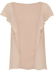 Lace Back Ruffle Top, Light Pink - sleeve style: angel/waterfall; pattern: plain; bust detail: ruching/gathering/draping/layers/pintuck pleats at bust; predominant colour: blush; occasions: casual; length: standard; style: top; fibres: polyester/polyamide - 100%; fit: body skimming; neckline: crew; sleeve length: half sleeve; texture group: sheer fabrics/chiffon/organza etc.; pattern type: fabric