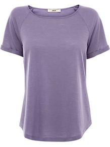 Textured Raglan Top, Denim - pattern: plain; style: t-shirt; predominant colour: lilac; occasions: casual; length: standard; fibres: viscose/rayon - 100%; fit: body skimming; neckline: crew; sleeve length: short sleeve; sleeve style: standard; texture group: jersey - stretchy/drapey