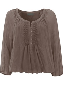 Pintuck Blouson Top, Mocha - neckline: round neck; pattern: plain; style: blouson; bust detail: buttons at bust (in middle at breastbone)/zip detail at bust; predominant colour: taupe; occasions: casual; length: standard; fibres: silk - 100%; fit: loose; sleeve length: 3/4 length; sleeve style: standard; texture group: sheer fabrics/chiffon/organza etc.; pattern type: fabric