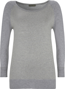 Metallic Front Jumper, Grey - neckline: round neck; pattern: plain; style: standard; predominant colour: mid grey; occasions: casual, work; length: standard; fibres: polyester/polyamide - stretch; fit: standard fit; waist detail: fitted waist; sleeve length: 3/4 length; sleeve style: standard; texture group: lycra/elastane mixes; trends: sporty redux; pattern type: fabric; pattern size: small &amp; light