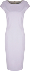 Rimini Bodycon Dress - length: below the knee; neckline: round neck; sleeve style: capped; fit: tailored/fitted; pattern: plain; style: bodycon; predominant colour: lilac; occasions: evening, occasion; fibres: polyester/polyamide - stretch; sleeve length: short sleeve; trends: glamorous day shifts; pattern type: fabric; texture group: other - light to midweight