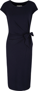 Aimee Dress, Navy - style: shift; length: below the knee; neckline: round neck; sleeve style: capped; fit: tailored/fitted; pattern: plain; waist detail: twist front waist detail/nipped in at waist on one side/soft pleats/draping/ruching/gathering waist detail; predominant colour: navy; occasions: evening, work, occasion; fibres: viscose/rayon - stretch; sleeve length: short sleeve; trends: glamorous day shifts; pattern type: fabric; texture group: other - light to midweight