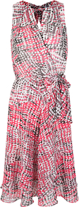 Adora Print Dress, Multi - fit: fitted at waist; sleeve style: sleeveless; style: blouson; waist detail: belted waist/tie at waist/drawstring; predominant colour: pink; secondary colour: mid grey; occasions: evening; length: on the knee; fibres: viscose/rayon - stretch; neckline: crew; hip detail: soft pleats at hip/draping at hip/flared at hip; sleeve length: sleeveless; texture group: sheer fabrics/chiffon/organza etc.; pattern type: fabric; pattern size: small & busy; pattern: patterned/print