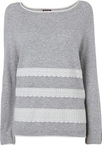 Melody Lace Panel Jumper, Grey - neckline: round neck; pattern: horizontal stripes; style: standard; predominant colour: mid grey; occasions: casual; length: standard; fibres: cotton - mix; fit: standard fit; sleeve length: long sleeve; sleeve style: standard; texture group: knits/crochet