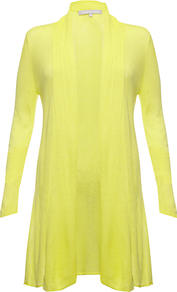 Benita Cardigan, Citron - pattern: plain; neckline: collarless open; style: open front; predominant colour: yellow; occasions: casual, evening; fit: standard fit; length: mid thigh; sleeve length: long sleeve; sleeve style: standard; texture group: knits/crochet; pattern type: knitted - fine stitch; fibres: viscose/rayon - mix