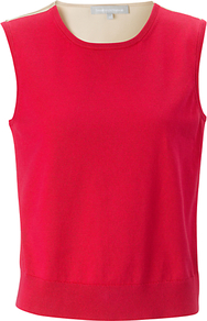 Viola Lace Trim Jumper, Electric Pink - sleeve style: sleeveless; style: standard; hip detail: fitted at hip; back detail: contrast pattern/fabric at back; predominant colour: true red; occasions: casual, evening, work; length: standard; fibres: cotton - 100%; fit: standard fit; neckline: crew; sleeve length: sleeveless; texture group: knits/crochet; trends: sporty redux; pattern type: knitted - fine stitch; pattern size: big & light; pattern: colourblock