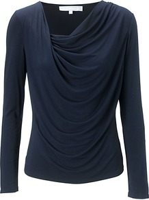 Shelley Top, Navy - neckline: cowl/draped neck; pattern: plain; waist detail: twist front waist detail/nipped in at waist on one side/soft pleats/draping/ruching/gathering waist detail; bust detail: ruching/gathering/draping/layers/pintuck pleats at bust; predominant colour: navy; occasions: casual, evening, work; length: standard; style: top; fibres: cotton - mix; fit: body skimming; sleeve length: long sleeve; sleeve style: standard; pattern type: fabric; texture group: jersey - stretchy/drapey