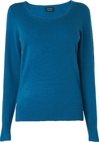 Cashmere Jumper, Turquoise - neckline: round neck; pattern: plain; style: standard; predominant colour: turquoise; occasions: casual, work; length: standard; fit: standard fit; fibres: cashmere - 100%; sleeve length: long sleeve; sleeve style: standard; texture group: knits/crochet; pattern type: knitted - fine stitch; pattern size: standard