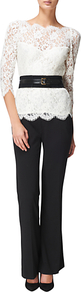 Scalloped Lace Blouse, Ivory - neckline: round neck; style: blouse; waist detail: belted waist/tie at waist/drawstring; predominant colour: ivory; occasions: evening, work, occasion; length: standard; fibres: cotton - mix; fit: tailored/fitted; sleeve length: 3/4 length; sleeve style: standard; texture group: lace; pattern type: fabric; pattern size: small &amp; busy; pattern: florals; embellishment: lace