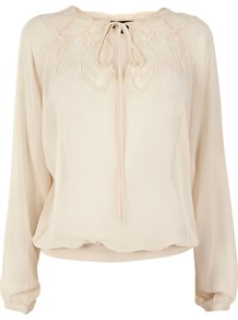 Embroidered Mesh Tunic Top, Cream - pattern: plain; bust detail: added detail/embellishment at bust; sleeve style: balloon; predominant colour: ivory; occasions: casual, evening, work, holiday; length: standard; style: top; neckline: peep hole neckline; fibres: polyester/polyamide - 100%; fit: body skimming; sleeve length: long sleeve; texture group: sheer fabrics/chiffon/organza etc.; pattern type: fabric; embellishment: embroidered
