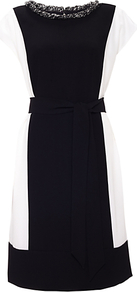 Ruth Dress, Black/Chalk - style: shift; sleeve style: capped; fit: tailored/fitted; bust detail: added detail/embellishment at bust; waist detail: fitted waist; secondary colour: white; predominant colour: black; occasions: evening, occasion; length: just above the knee; fibres: polyester/polyamide - 100%; neckline: crew; sleeve length: short sleeve; pattern: colourblock; texture group: other - light to midweight; embellishment: crystals
