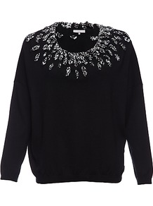 Dixie Jumper, Black - sleeve style: dolman/batwing; pattern: plain; bust detail: added detail/embellishment at bust; style: standard; predominant colour: black; occasions: casual, evening, work; length: standard; fibres: cotton - mix; fit: standard fit; neckline: crew; shoulder detail: added shoulder detail; sleeve length: long sleeve; texture group: knits/crochet; pattern type: knitted - fine stitch; pattern size: small & light; embellishment: beading