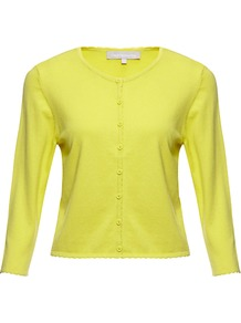 Coralee Cardigan - neckline: round neck; pattern: plain; length: cropped; bust detail: buttons at bust (in middle at breastbone)/zip detail at bust; predominant colour: yellow; occasions: casual, work; style: standard; fibres: silk - mix; fit: slim fit; sleeve length: 3/4 length; sleeve style: standard; texture group: knits/crochet; pattern type: knitted - fine stitch