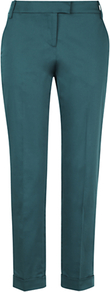 Stretch Sateen Trousers - length: standard; pattern: plain; waist: mid/regular rise; predominant colour: teal; occasions: evening, work; fibres: cotton - stretch; waist detail: narrow waistband; jeans &amp; bottoms detail: turn ups; texture group: structured shiny - satin/tafetta/silk etc.; fit: straight leg; pattern type: fabric; style: standard