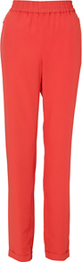 Isabella Trousers, Flame - length: standard; pattern: plain; waist detail: elasticated waist; waist: mid/regular rise; predominant colour: bright orange; occasions: evening, work, occasion, holiday; fibres: polyester/polyamide - stretch; jeans & bottoms detail: turn ups; texture group: crepes; fit: straight leg; pattern type: fabric; style: standard