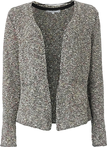 Fiori Tweed Cardigan, Multi - pattern: plain; neckline: collarless open; style: open front; occasions: casual, work; length: standard; fibres: cotton - mix; fit: standard fit; predominant colour: multicoloured; sleeve length: long sleeve; sleeve style: standard; texture group: knits/crochet; pattern type: knitted - other