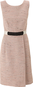 Sophia Dress, Pale Pink - style: shift; neckline: round neck; fit: tailored/fitted; pattern: plain; sleeve style: sleeveless; waist detail: belted waist/tie at waist/drawstring; predominant colour: blush; occasions: work, occasion; length: just above the knee; fibres: cotton - mix; sleeve length: sleeveless; pattern type: fabric; texture group: tweed - light/midweight