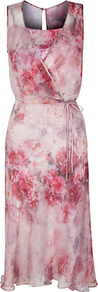 Pretti Dress, Print - style: faux wrap/wrap; length: below the knee; neckline: low v-neck; fit: fitted at waist; sleeve style: sleeveless; waist detail: belted waist/tie at waist/drawstring; predominant colour: pink; secondary colour: blush; occasions: evening, occasion; fibres: polyester/polyamide - 100%; sleeve length: sleeveless; texture group: sheer fabrics/chiffon/organza etc.; pattern type: fabric; pattern size: big &amp; busy; pattern: florals