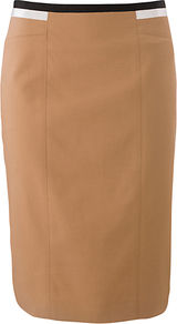 Astrid Skirt, Sand - length: below the knee; pattern: plain; style: pencil; fit: tailored/fitted; waist detail: embellishment at waist/feature waistband; waist: mid/regular rise; predominant colour: camel; secondary colour: black; occasions: evening, work; fibres: cotton - stretch; pattern type: fabric; texture group: woven light midweight