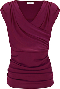 Ruched Cross Over Top, Dark Pink - neckline: v-neck; sleeve style: capped; pattern: plain; waist detail: fitted waist; style: wrap/faux wrap; predominant colour: hot pink; occasions: casual, work; length: standard; fibres: polyester/polyamide - stretch; fit: body skimming; sleeve length: short sleeve