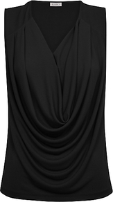 Cowl Front Top, Black - neckline: v-neck; pattern: plain; sleeve style: sleeveless; bust detail: ruching/gathering/draping/layers/pintuck pleats at bust; predominant colour: black; occasions: casual, evening; length: standard; style: top; fibres: polyester/polyamide - 100%; fit: body skimming; sleeve length: sleeveless; texture group: jersey - stretchy/drapey