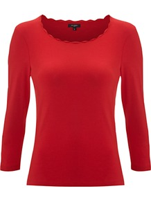 Rena Top - neckline: round neck; pattern: plain; predominant colour: true red; occasions: casual, work; length: standard; style: top; fibres: cotton - stretch; fit: body skimming; sleeve length: 3/4 length; sleeve style: standard; texture group: cotton feel fabrics