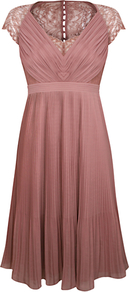 Middleton Pleat Dress, Pink - style: empire line; neckline: low v-neck; sleeve style: capped; fit: empire; pattern: plain; waist detail: fitted waist; shoulder detail: contrast pattern/fabric at shoulder; back detail: contrast pattern/fabric at back; bust detail: ruching/gathering/draping/layers/pintuck pleats at bust; predominant colour: pink; occasions: evening, occasion; length: on the knee; fibres: polyester/polyamide - 100%; hip detail: soft pleats at hip/draping at hip/flared at hip; sleeve length: short sleeve; texture group: lace; pattern type: fabric; pattern size: standard
