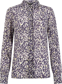 Raindrop Print Shirt, Lilac - neckline: shirt collar/peter pan/zip with opening; style: shirt; bust detail: ruching/gathering/draping/layers/pintuck pleats at bust; occasions: casual, evening, work, occasion; length: standard; fibres: silk - 100%; fit: body skimming; predominant colour: multicoloured; sleeve length: long sleeve; sleeve style: standard; texture group: sheer fabrics/chiffon/organza etc.; pattern type: fabric; pattern size: small & busy; pattern: patterned/print