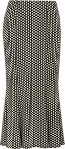 Polka Dot Jersey Skirt, Multi - length: calf length; style: fishtail; fit: tailored/fitted; pattern: polka dot; waist: mid/regular rise; secondary colour: white; predominant colour: black; occasions: work; fibres: viscose/rayon - stretch; texture group: crepes; pattern type: fabric; pattern size: small & busy