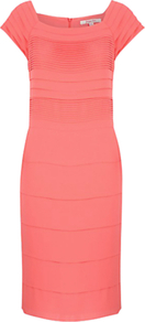 Pleated Shift Dress, Pink - style: shift; neckline: round neck; sleeve style: capped; fit: tailored/fitted; pattern: plain; predominant colour: coral; occasions: evening, work; length: just above the knee; fibres: polyester/polyamide - 100%; sleeve length: short sleeve; pattern type: fabric; texture group: other - light to midweight
