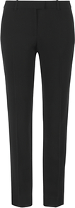Fine Wool Pleat Trousers, Black - length: standard; pattern: plain; pocket detail: small back pockets; waist: mid/regular rise; predominant colour: black; occasions: evening, work; fibres: wool - mix; fit: straight leg; pattern type: fabric; texture group: woven light midweight; style: standard
