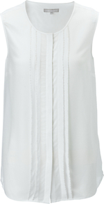Dolce Top, Chalk - pattern: plain; sleeve style: sleeveless; bust detail: ruching/gathering/draping/layers/pintuck pleats at bust; predominant colour: white; occasions: casual, work; length: standard; style: top; fibres: silk - 100%; fit: body skimming; neckline: crew; sleeve length: sleeveless; texture group: silky - light; pattern type: fabric