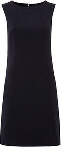Bliss Dress, Navy - style: shift; fit: tailored/fitted; pattern: plain; sleeve style: sleeveless; predominant colour: black; occasions: evening, work, occasion; length: just above the knee; fibres: polyester/polyamide - mix; neckline: crew; sleeve length: sleeveless; pattern type: fabric; texture group: other - light to midweight