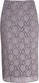 Lace Pencil Skirt, Grey Silver - length: below the knee; style: pencil; waist: mid/regular rise; predominant colour: lilac; occasions: evening, work; fibres: polyester/polyamide - mix; texture group: lace; fit: straight cut; pattern type: fabric; pattern size: small &amp; light; pattern: patterned/print