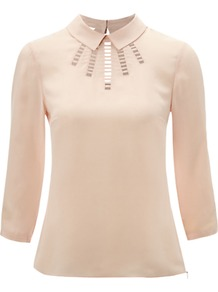 Hayward Blouse, Powder - pattern: plain; predominant colour: ivory; occasions: casual, work; length: standard; style: top; fibres: silk - 100%; fit: body skimming; neckline: no opening/shirt collar/peter pan; bust detail: contrast pattern/fabric/detail at bust; back detail: keyhole/peephole detail at back; sleeve length: 3/4 length; sleeve style: standard; texture group: silky - light; pattern type: fabric