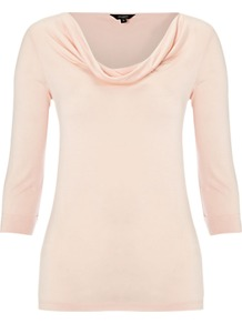 Simone Top, Powder - neckline: cowl/draped neck; pattern: plain; bust detail: ruching/gathering/draping/layers/pintuck pleats at bust; predominant colour: blush; occasions: casual, work, occasion; length: standard; style: top; fibres: viscose/rayon - 100%; fit: body skimming; sleeve length: 3/4 length; sleeve style: standard; pattern type: fabric; texture group: jersey - stretchy/drapey