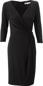 Azzura Dress, Black - style: faux wrap/wrap; neckline: v-neck; pattern: plain; waist detail: fitted waist; predominant colour: black; occasions: evening, work; length: just above the knee; fit: body skimming; fibres: polyester/polyamide - stretch; sleeve length: 3/4 length; sleeve style: standard; pattern type: fabric; texture group: jersey - stretchy/drapey