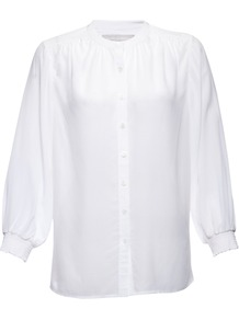 Eloise Blouse, Chalk - pattern: plain; neckline: high neck; style: blouse; predominant colour: white; occasions: casual, evening, work; length: standard; fibres: silk - 100%; fit: straight cut; sleeve length: long sleeve; sleeve style: standard; texture group: sheer fabrics/chiffon/organza etc.; pattern type: fabric