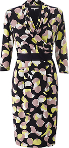 Sienna Dress, Navy/Citron - style: faux wrap/wrap; neckline: v-neck; fit: fitted at waist; secondary colour: yellow; predominant colour: black; occasions: evening, work, occasion; length: just above the knee; fibres: polyester/polyamide - stretch; waist detail: narrow waistband; sleeve length: 3/4 length; sleeve style: standard; trends: statement prints; pattern type: fabric; pattern size: small &amp; busy; pattern: patterned/print; texture group: jersey - stretchy/drapey