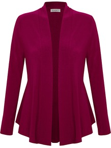 Ity Jersey Cover Up Cardigan, Bright Pink - pattern: plain; length: below the bottom; neckline: collarless open; style: open front; predominant colour: hot pink; occasions: casual, evening, work; fibres: polyester/polyamide - stretch; fit: standard fit; waist detail: peplum detail at waist; sleeve length: long sleeve; sleeve style: standard; texture group: knits/crochet; pattern type: knitted - fine stitch