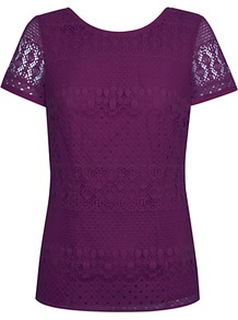 Lace Top, Bright Purple - neckline: round neck; predominant colour: aubergine; occasions: casual, evening, work; length: standard; style: top; fibres: cotton - mix; fit: straight cut; sleeve length: short sleeve; sleeve style: standard; texture group: lace; pattern type: fabric; pattern size: small & busy; pattern: patterned/print; embellishment: lace
